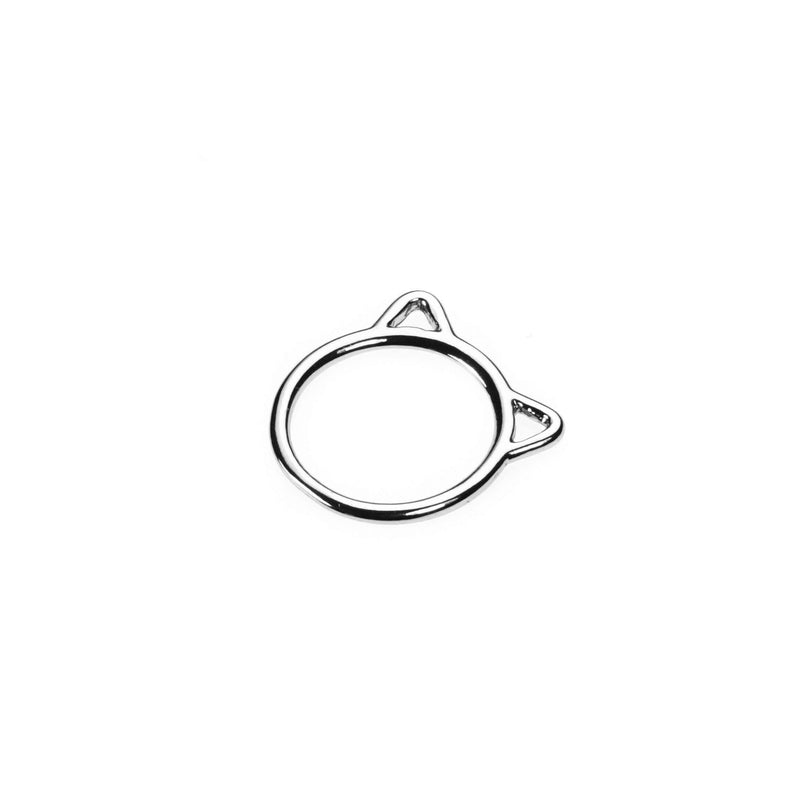 Beautiful Charming Cat Face Solid White Gold Stacker Ring By Jewelry Lane