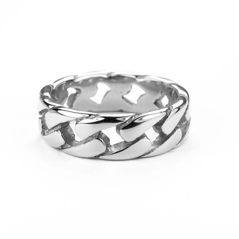 Beautiful Stylish Chain Design Solid White Gold Band Ring By Jewelry Lane
