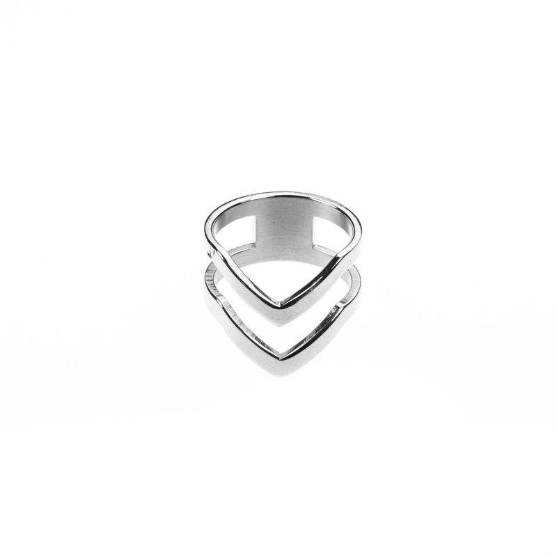 Double Chevron Stacker Ring in White Gold Vermeil by Jewelry Lane
