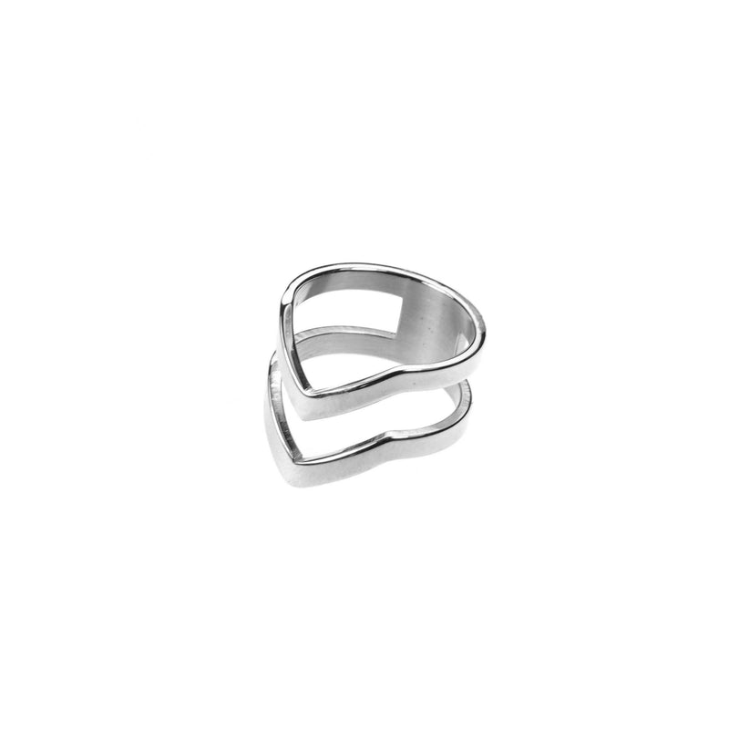 The Double Chevron Stacker Ring in White Gold Vermeil by Jewelry Lane