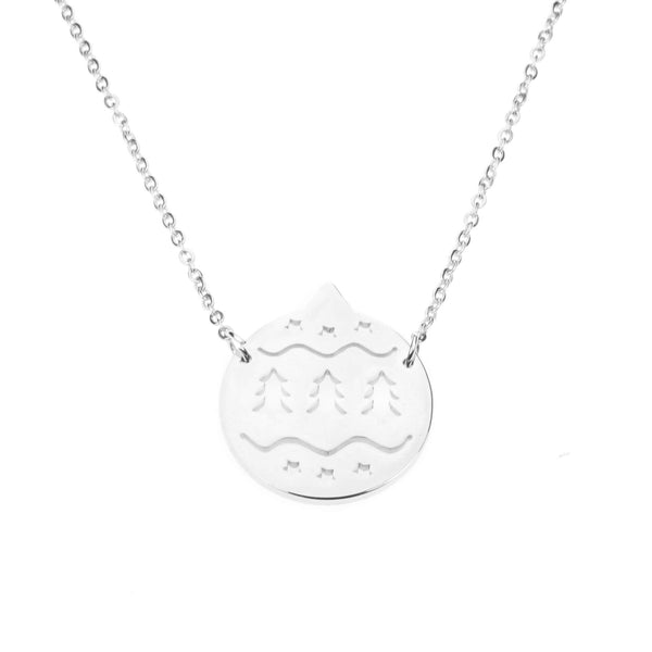 Beautiful Round Christmas Ornament Solid White Gold Necklace By Jewelry Lane