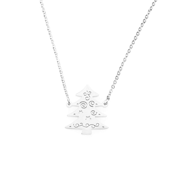 Beautiful Charming Christmas Tree Solid White Gold Necklace By Jewelry Lane