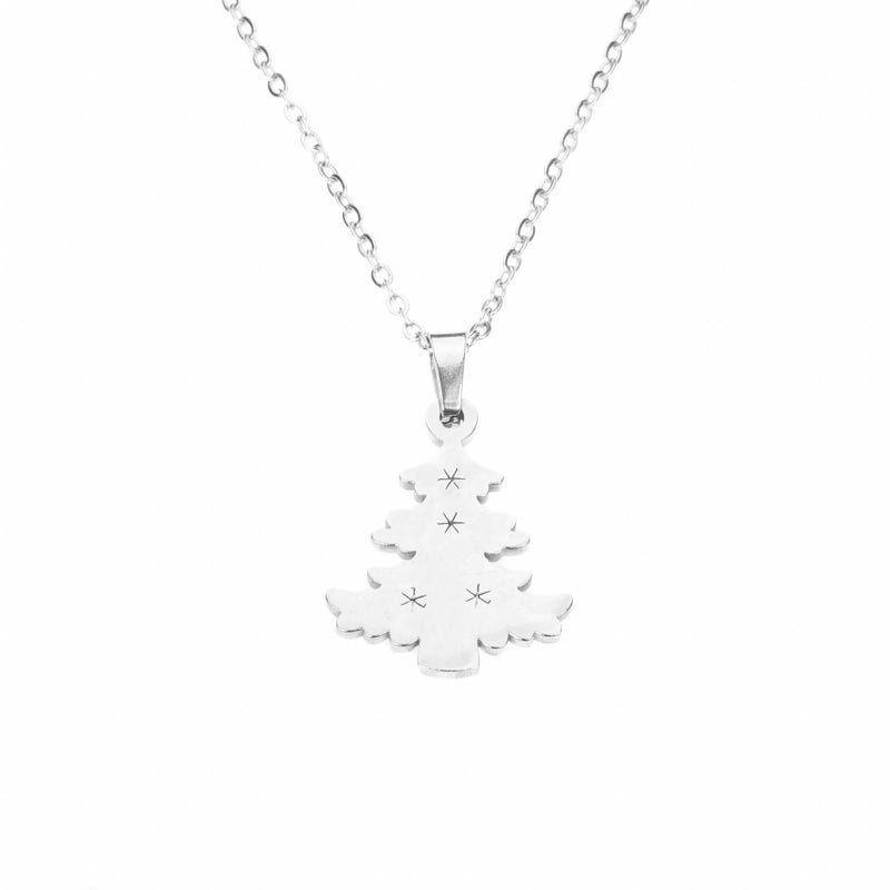 Beautiful Charming Christmas Tree Solid White Gold Pendant by Jewelry Lane