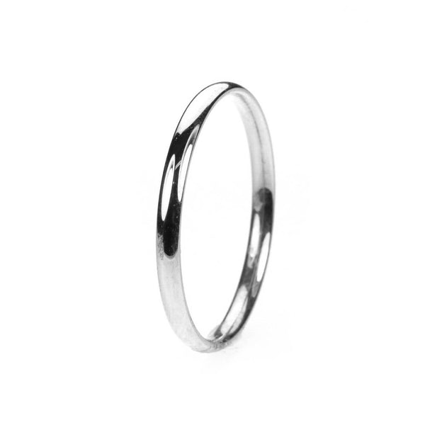 Simple Sleek Classic Solid White Gold Band Ring By Jewelry Lane