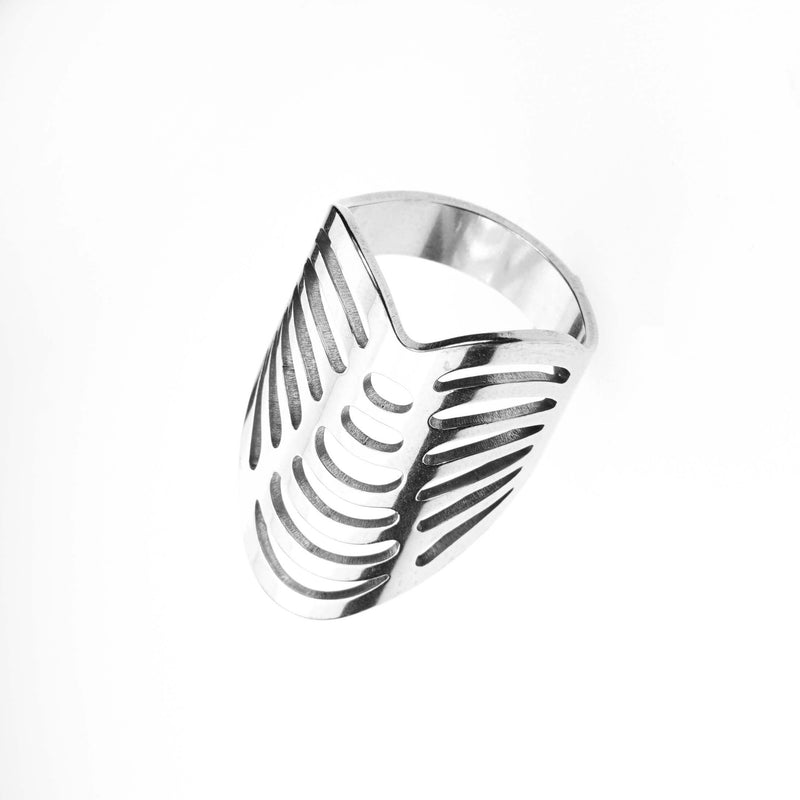 Beautiful Classic Hollow Design Large Solid White Gold Ring By Jewelry Lane