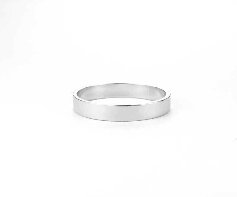 Elegant Simple Classic Solid White Gold Band Ring By Jewelry Lane