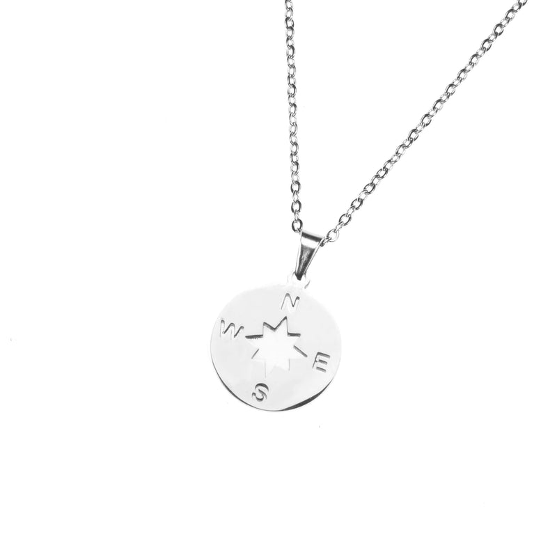 Beautiful Classic Compass Design Solid White Gold Necklace By Jewelry Lane