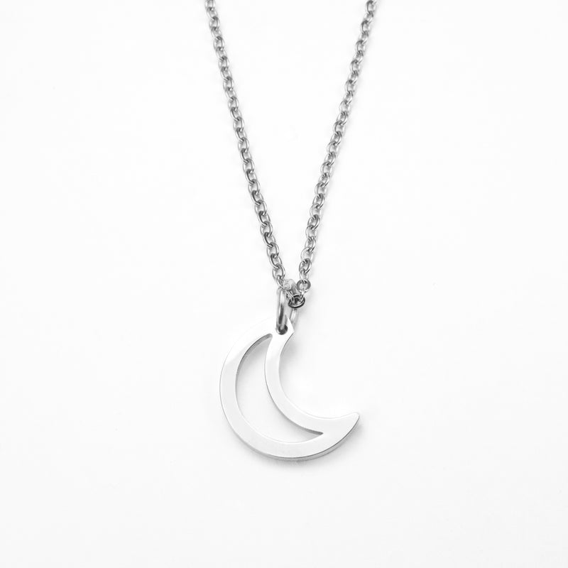 Beautiful Charm Crescent Moon Solid White Gold Pendant By Jewelry Lane