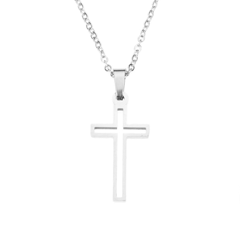 Elegant Religious Hollow Jesus Cross Solid White Gold Pendant By Jewelry Lane