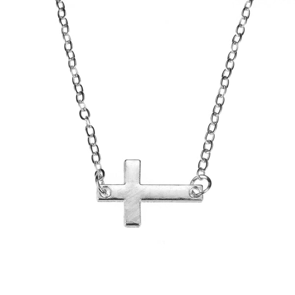 Elegant Simple Sideway Cross Solid White Gold Pendant By Jewelry Lane