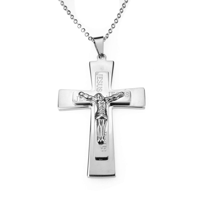 Simple Religious Jesus Cross Solid White Gold Pendant By Jewelry Lane