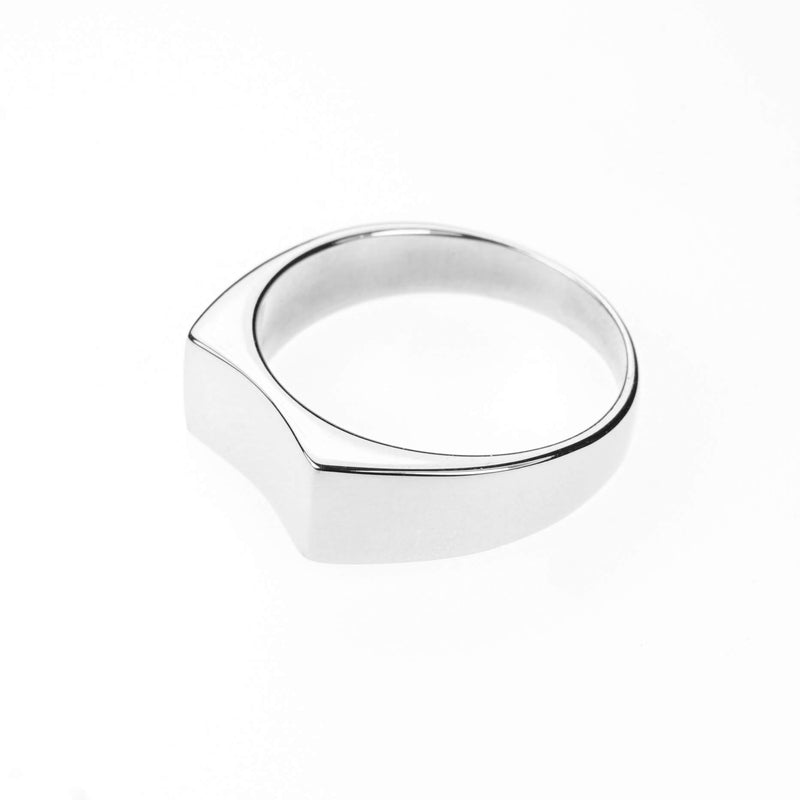 Simple Plain Polished Curved Statement Solid White Gold Ring By Jewelry Lane