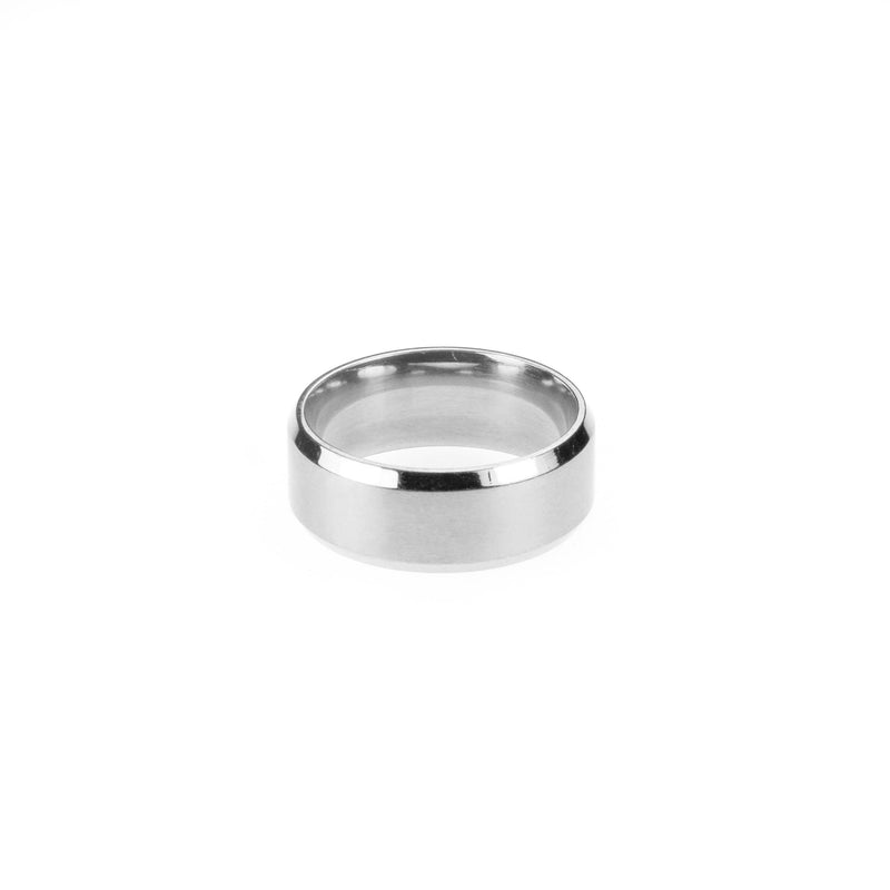 Simple Polished Beveled D-Shape Solid White Gold Band Ring For Jewelry Lane