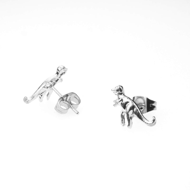 Beautiful Unique Dinosaur Stud Solid White Gold Earrings By Jewelry Lane