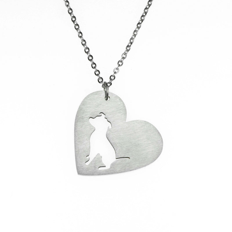 Beautiful Modern Dog Heart Love Solid White Gold Pendant By Jewelry Lane