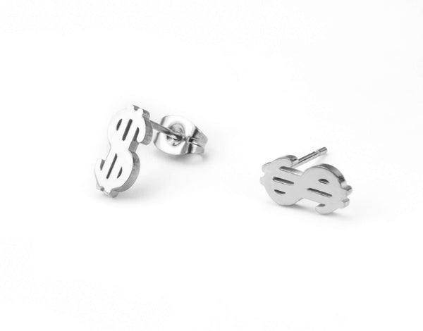 Beautiful Unique Dollar Sign Solid White Gold Stud Earrings By Jewelry Lane