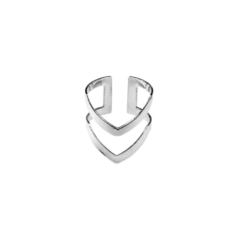Classic Elegance Double Chevron Cuff White Gold Vermeil Ring By Jewelry Lane