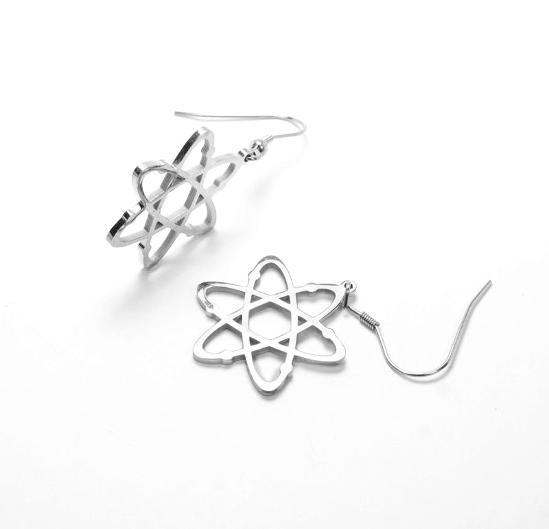 Beautiful Solid White Gold Atomic Earrings by Jewelry Lane