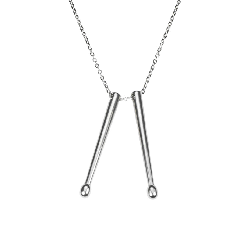 Beautiful Long Drum Sticks Solid White Gold Pendant By Jewelry Lane