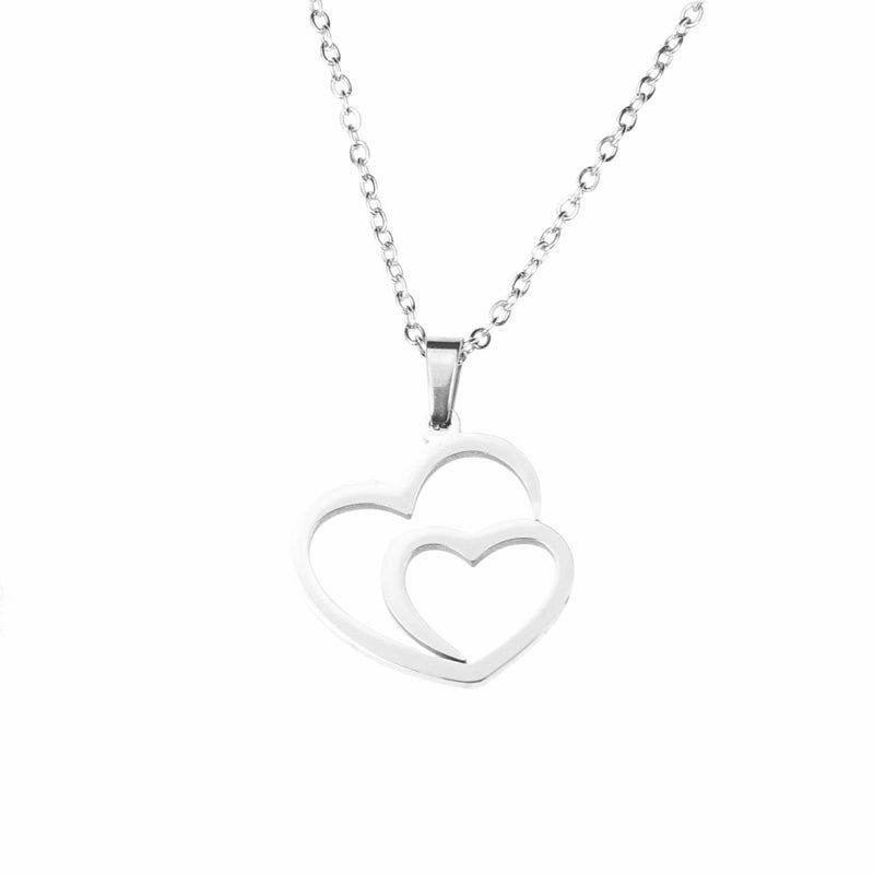 Beautiful Modern Dual Heart Love Solid White Gold Pendant By Jewelry Lane