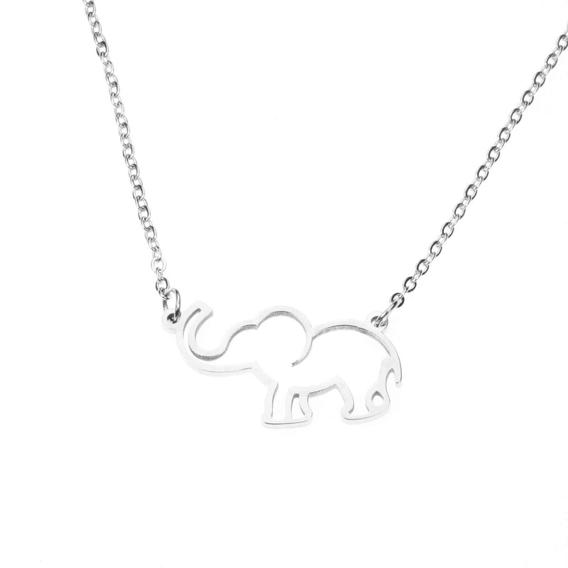 Simple Charming Elephant Style Solid White Gold Necklace By Jewelry Lane