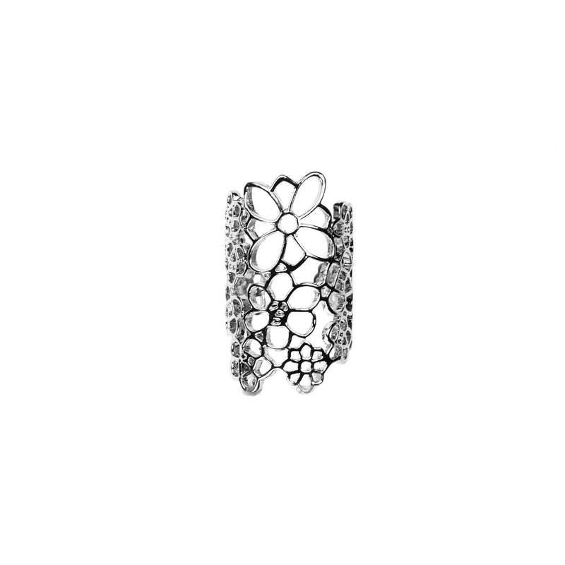 Beautiful Elongated Flower Cuff Design Solid White Gold Rings By Jewelry Lane