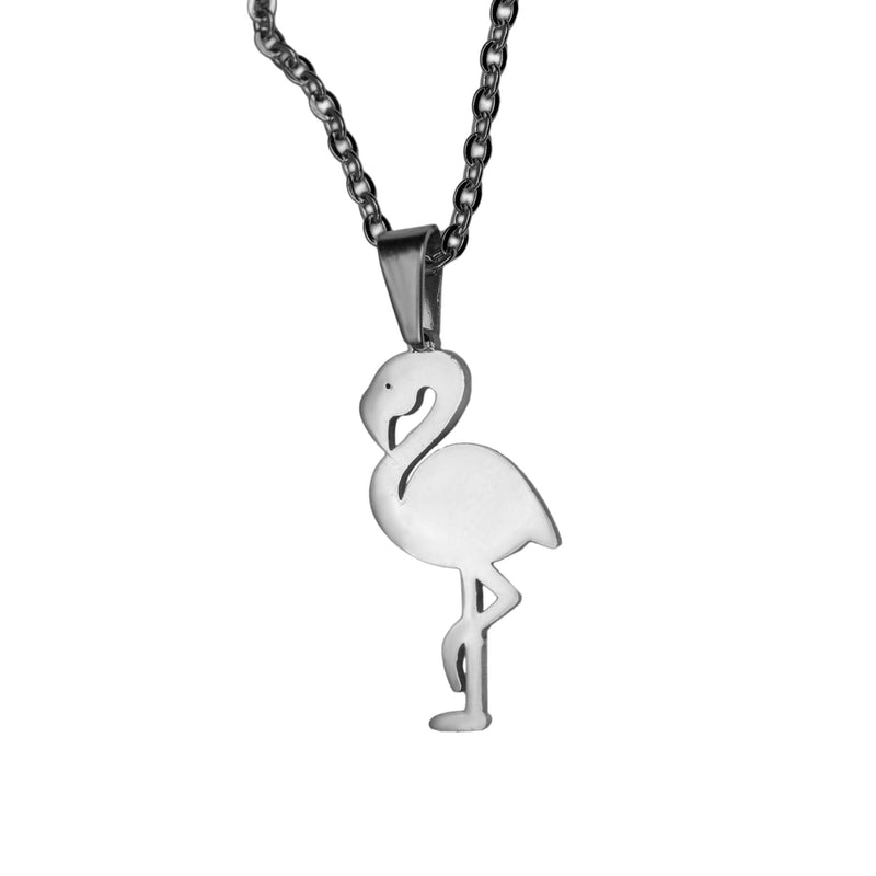 Beautiful Charming Flamingo Bird Design Solid White Gold Pendant By Jewelry Lane