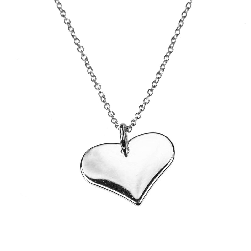 Charming Beautiful Flat Heart Design Solid White Gold Pendant By Jewelry Lane