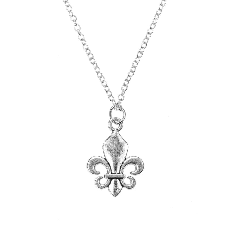 Exquisite Vintage Symbol Of Royalty Fleur-de-lis Solid White Gold Pendant By Jewelry Lane