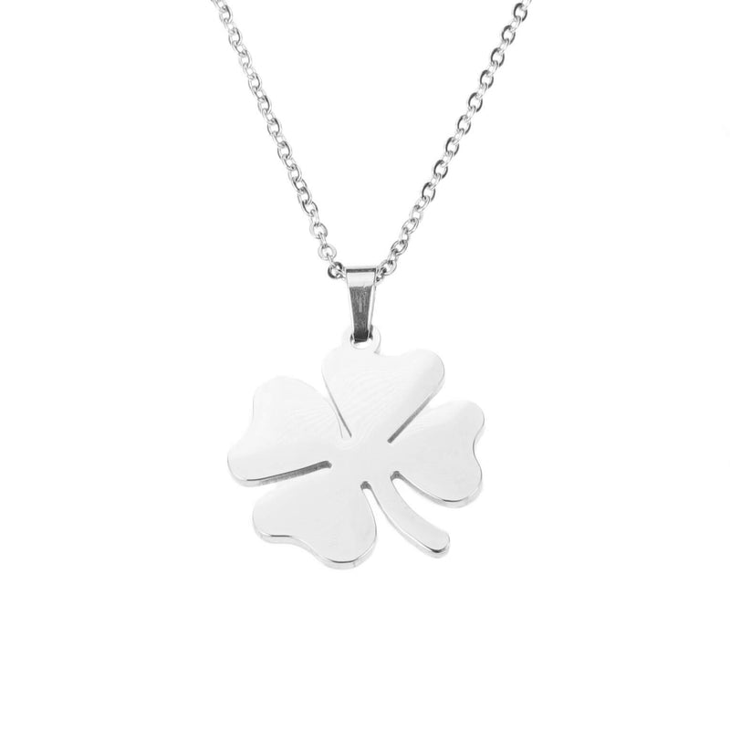 Simple Charming Four Leaf Clover Solid White Gold Pendant By Jewelry Lane