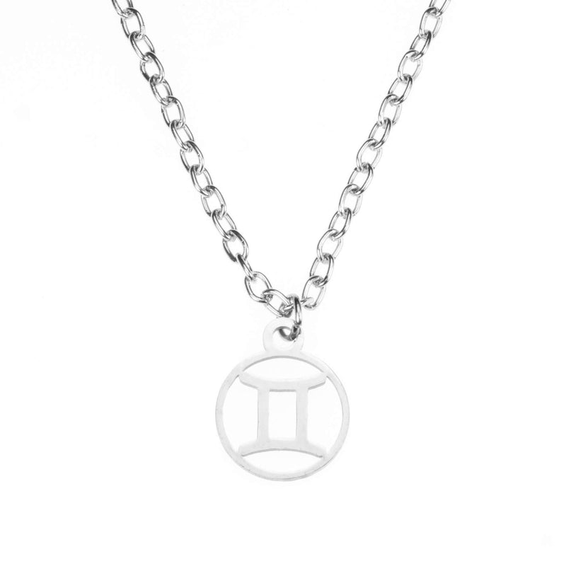 Charming Zodiac Gemini Minimalist Solid White Gold Pendant By Jewelry Lane