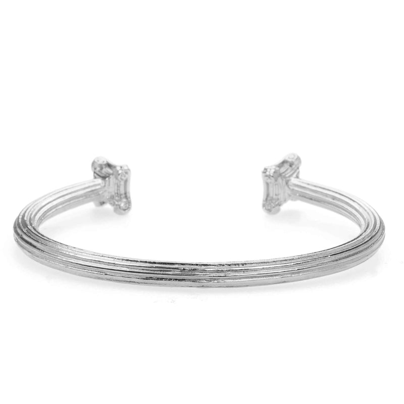 Beautiful Solid White Gold Greek Column Bangle by Jewelry Lane