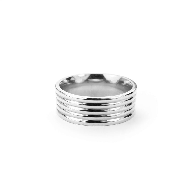 Elegance Stylish Grooved Solid White Gold Ring By Jewelry Lane