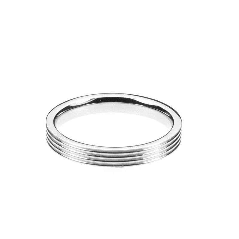 Smooth Comfortable 4 Grooved Solid White Gold Band Ring By Jewelry Lane