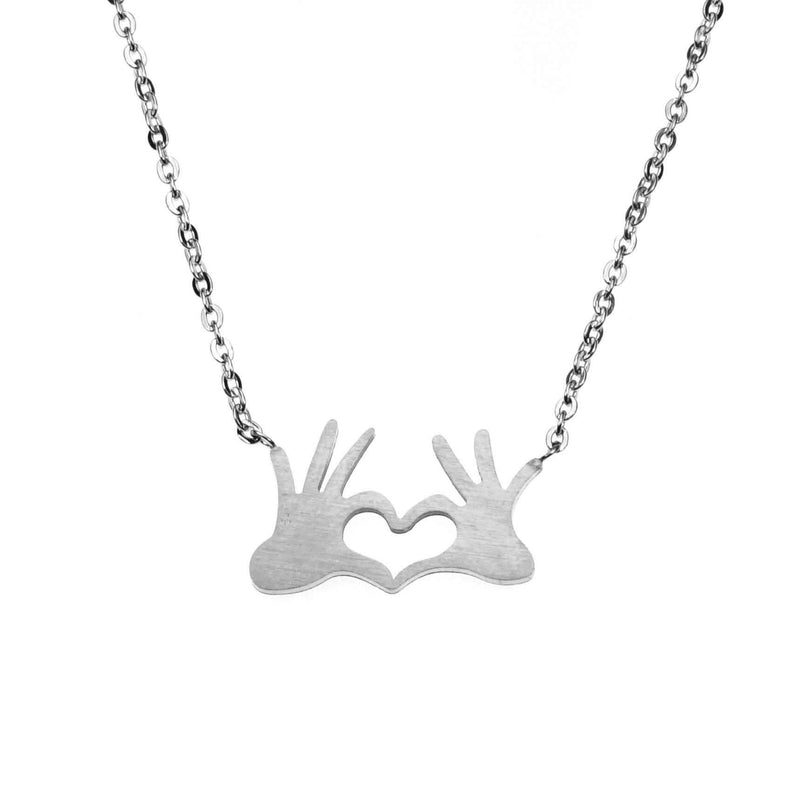 Beautiful Modern Heart In Hand Solid White Gold Necklace By Jewelry Lane