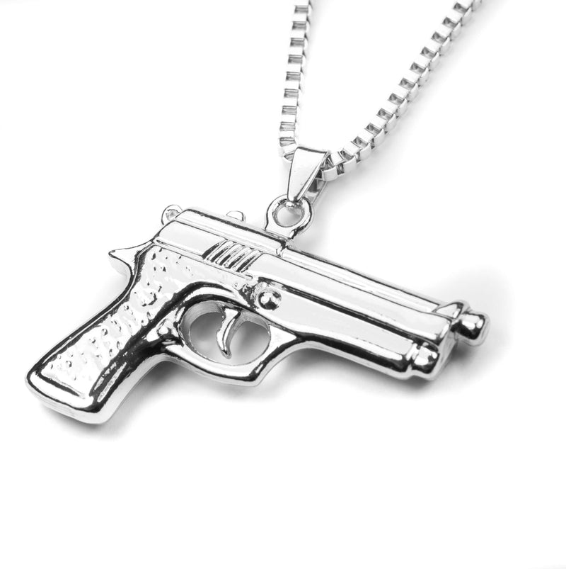 Modern Bold Handgun Style Solid White Gold Necklace By Jewelry Lane