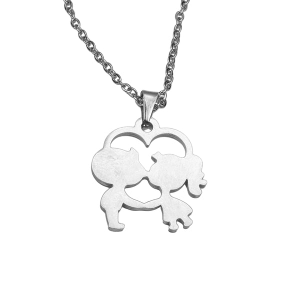 Beautiful Charming Love Kiss Heart Solid White Gold Pendant By Jewelry Lane
