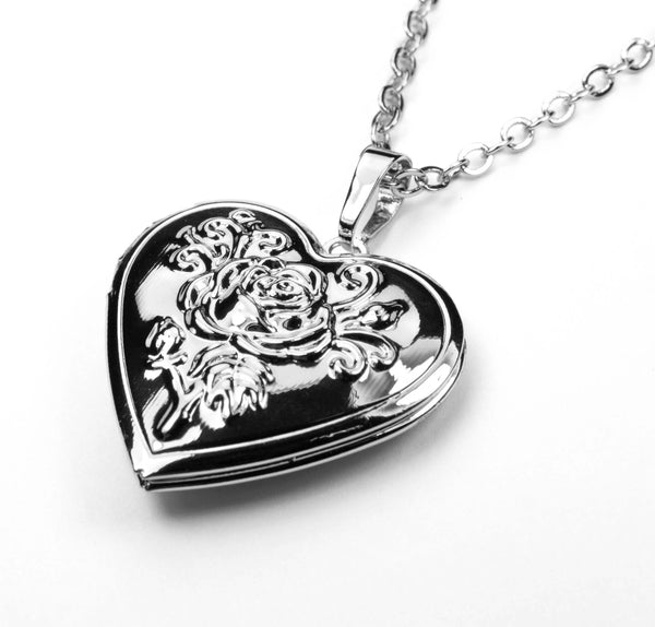 Beautiful Charming Heart Love Locket Solid White Gold Necklace By Jewelry Lane