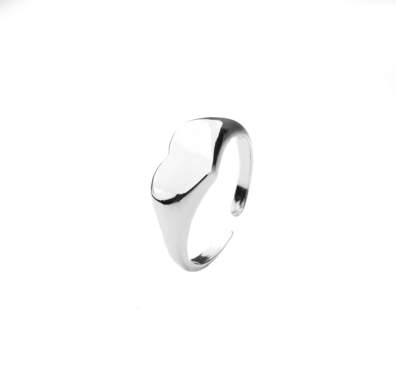 Beautiful Charming Heart Signet Solid White Gold Ring By Jewelry Lane