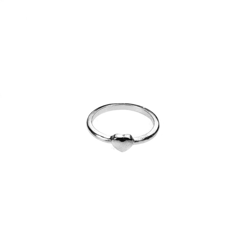 Beautiful Simple Heart Stacker White Gold Vermeil Ring By Jewelry Lane