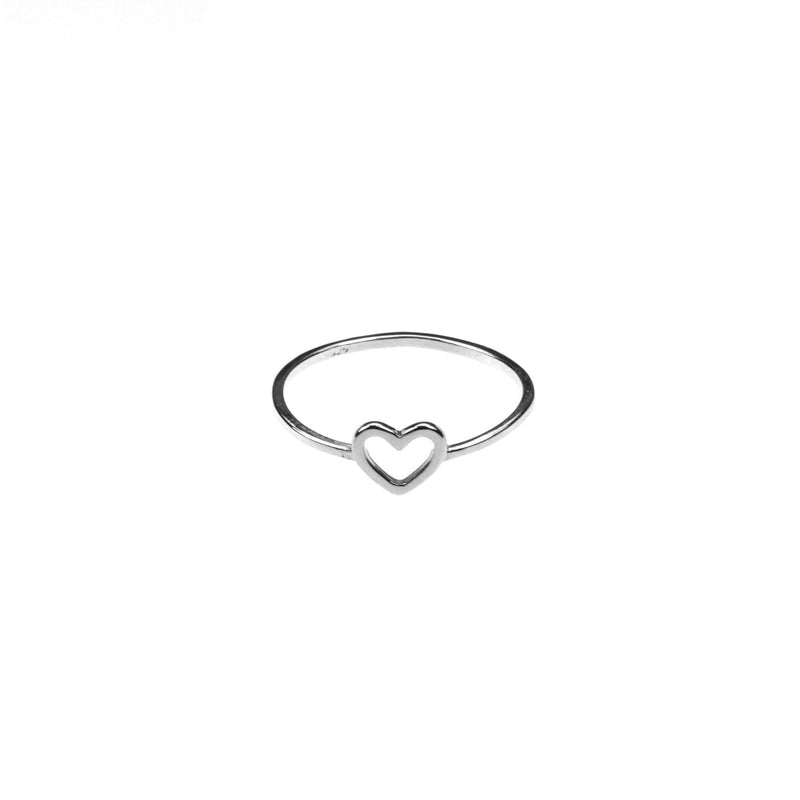 Beautiful Simple Open Heart Love Stacker Solid White Gold Ring By Jewelry Lane