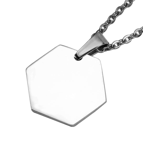 Beautiful Simple Plain Hexagon Style Solid White Gold Pendant By Jewelry Lane