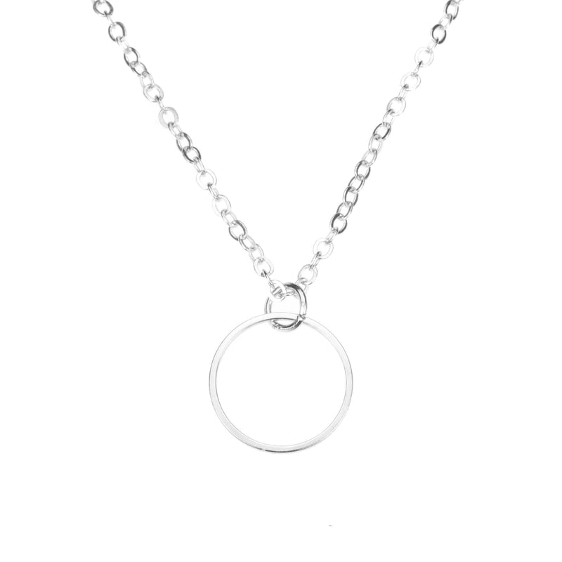 Beautiful Simple Hoop Style Solid White Gold Pendant By Jewelry Lane