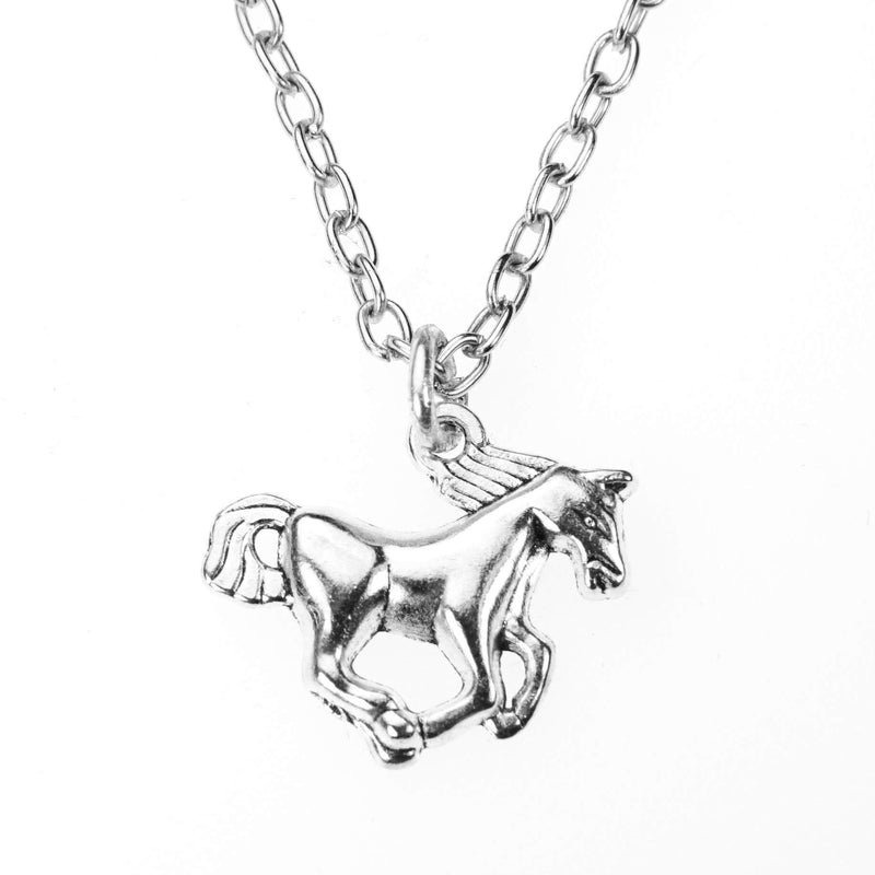 Beautiful Charming Running Horse Design Solid White Gold Pendant by Jewelry Lane