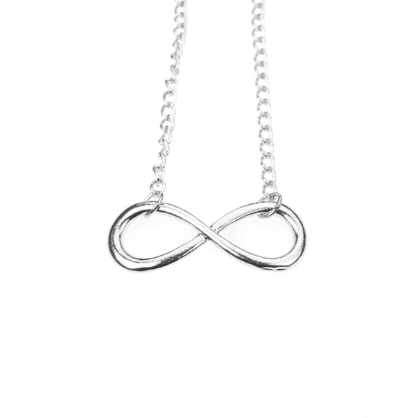 Unique Mathematical Infinity Sign Solid White Gold Necklace By Jewelry Lane