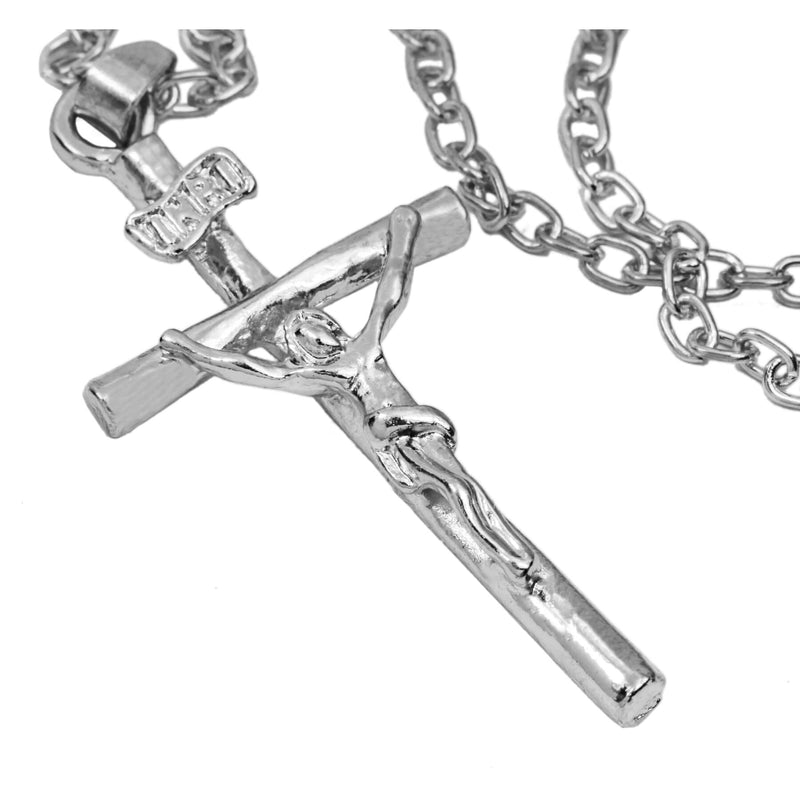 Beautiful Religious Jesus Cross Solid White Gold Pendant By Jewelry Lane