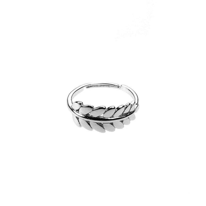 Beautiful Elegance Leaf Stacker Solid White Gold Ring By Jewelry Ring
