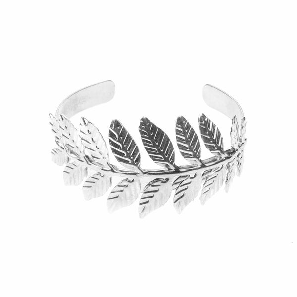 Beautiful Modern Leaf Cuff Design Solid White Gold Bangle By Jewelry Lane