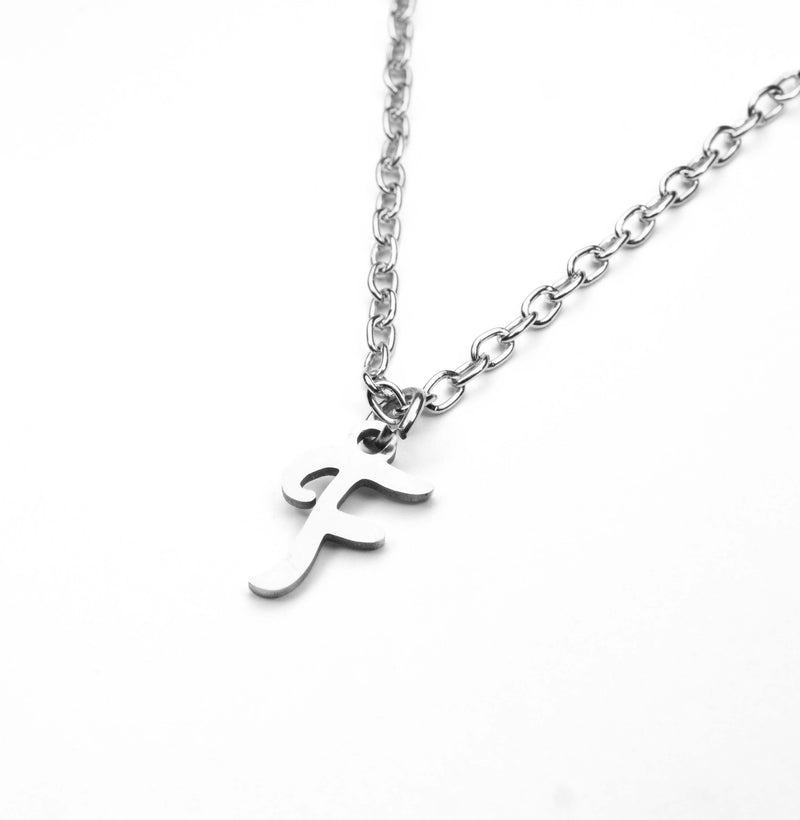 Beautiful Polished Letter F Solid White Gold Pendant By Jewelry Lane