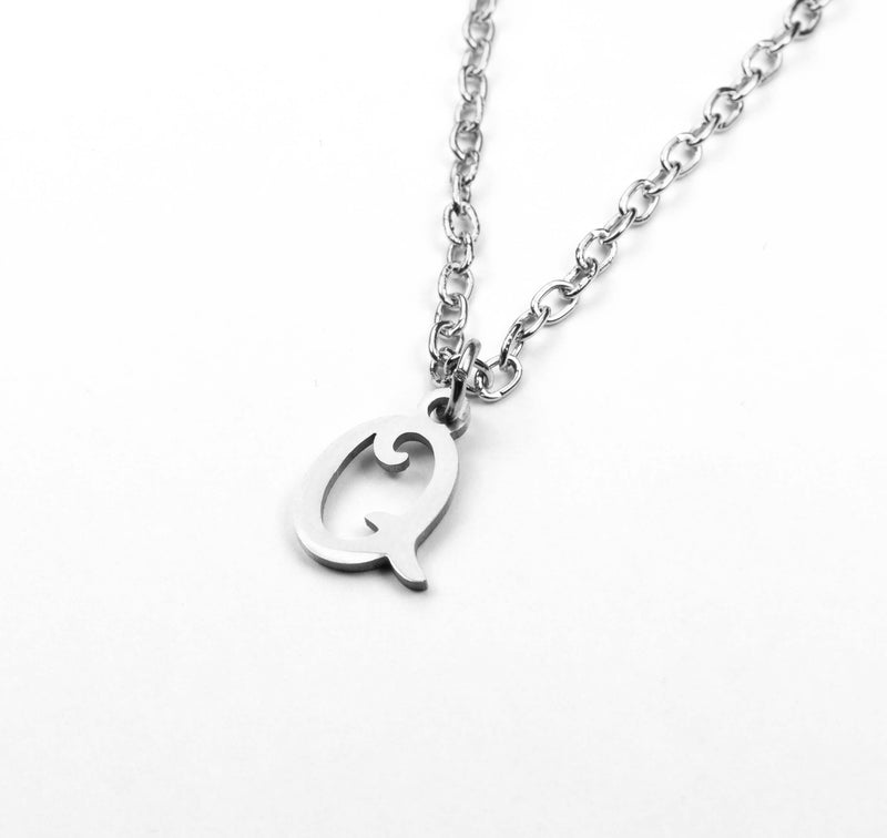 Beautiful Polished Letter Q Solid White Gold Pendant By Jewelry Lane